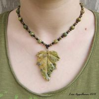 Kambaba Jasper Leaf Necklace by Cillana