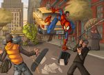 spiderman vs hulk by deffectx