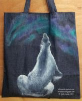 Polar Bear Aurora (hand painted tote bag) by Olvium