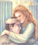 Harry and Ginny in St Mungo's by leelastarsky