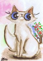 Funny cat watercolour by KingZoidLord