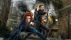 Avengers AOU Black Widow and Hawkeye by Davian-Art