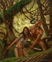 Tarzan and La of Opar by AaronMiller
