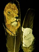 the lion and the lamb feather painting by your-friendly-nukes