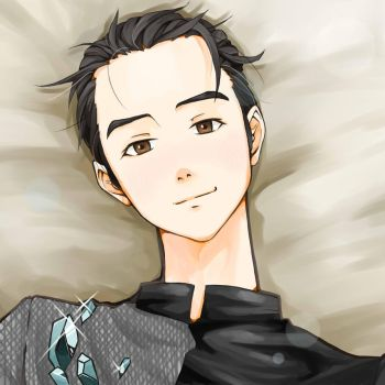 Laying Yuuri by cassileen