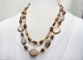 Amber Shell Necklace by BeadingOwl