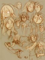 Mias and Elle plot sketches by StressedJenny