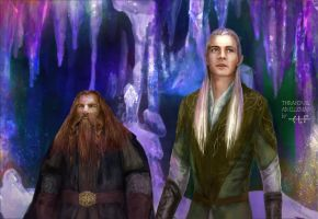 Gimli and Legolas in the Glittering Caves by Ainaven