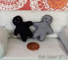 Black and Gray Miniature Doll Plushies by Kyle-Lefort