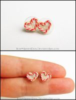 Heart Shaped Candy Cane Sugar Cookie Earrings by Bon-AppetEats