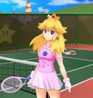 peach tennis court by Razorkun