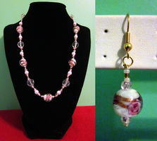 Pink Flower - Pearl Set by BloodRed-Orchid