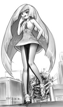 Lusamine towers over town by AlloyRabbit