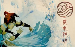 Korra Waterbending - Wallpaper by a-n-n-a-m-a-r-i-e