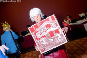 Anime Boston 2015 - Dante with Pizza by VideoGameStupid
