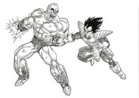 Nappa vs Vegeta by bloodsplach