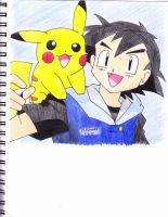 ash and pikachu(no hat) by MarleneUrameshi