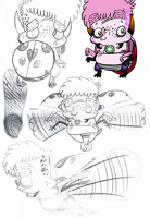 marty moville Ladybug Alien sketches by sixteen6stars