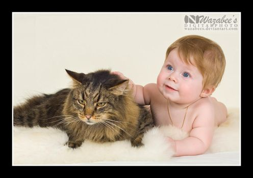 Norwegian Forest Kid and Cat by wazabees