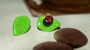 Ladybug Leaf earrings by ShazBombx