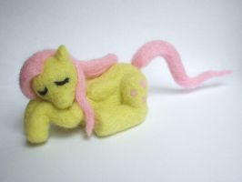 Needle-felted sleeping Fluttershy by Scarygothgirl