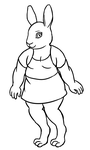 Bunny Lady Lineart by onexargetian