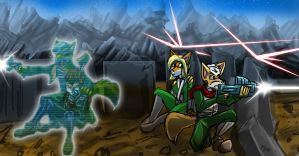 Art Trade: Fox and Eva Under Fire by Micgrol