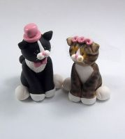 Tuxedo Cat and Tabby Cat Wedding Cake Topper by HeartshapedCreations