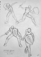 DA Sketch Dump - Alistair Action Poses by VampireDragonGirl66