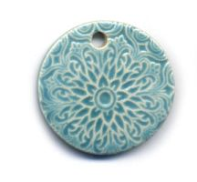 Aqua Ceramic Sari Pendant by ChinookDesigns