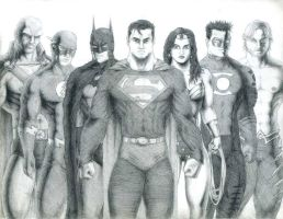Justice League Line-Up- Detail by AngryLandon