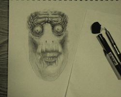 swamp fish face guy sketch by brucethebandit