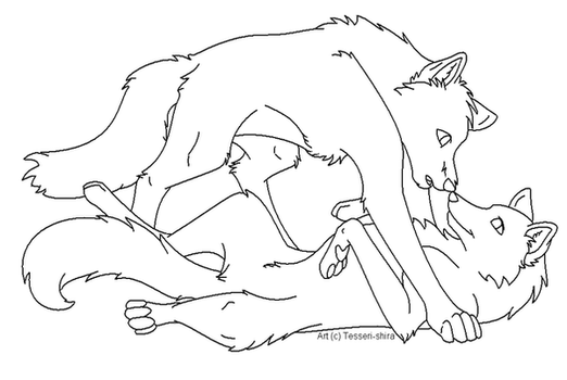 Free Wolf Love Lineart by Nova-Nocturne