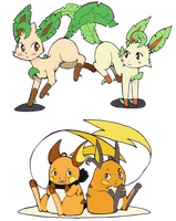 Leafeon and Raichu by Kikulina