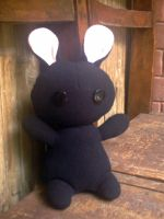 Black Bunny Plushie by SpiderYuri
