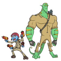 Tibler and Oengus - Bounty Hunters Character Art by captainslam
