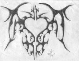 trible heart tatoo design by brandonroberie
