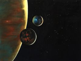 2 moons - oil painting by Aleksander-peca