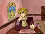 idleing Dante on his desk by Shilphe