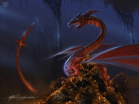 Smaug and his treasure by Shockbolt
