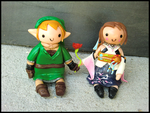Link + Yuna Cake Toppers by GrandmaThunderpants