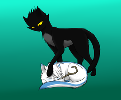 Pitch And Sleeping Jack kitties by TheShadowsReturn