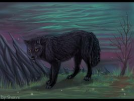 Wolf at Dusk by madShanni
