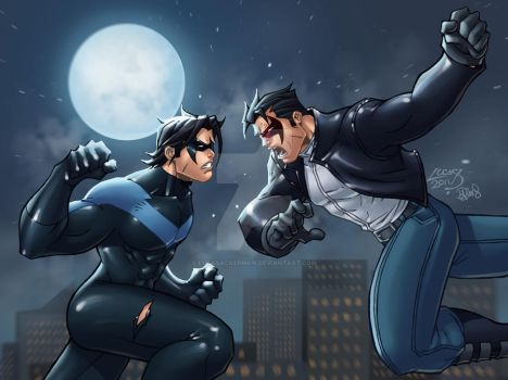 Nightwing VS Red Hood COLORED by LucasAckerman