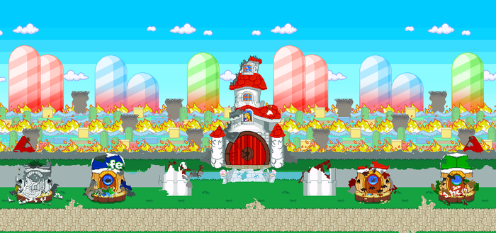 [Sprite Background] Peach Castle DESTROYED! v2 by CamAditia