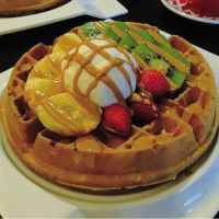 butterscotch waffle with fresh fruits by HanaYean