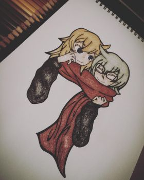 Grey and Ivel: Red Scarf  by ShellyToon