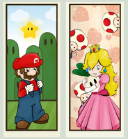 Peach and Mario  .Prize. by scribblin