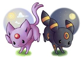 Espeon ~ Umbreon by lullabun