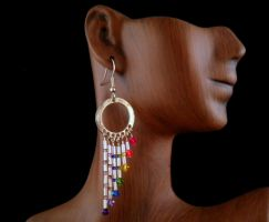 Rainbow/Chakra Swarovski Crystal Earrings by JanecShannon